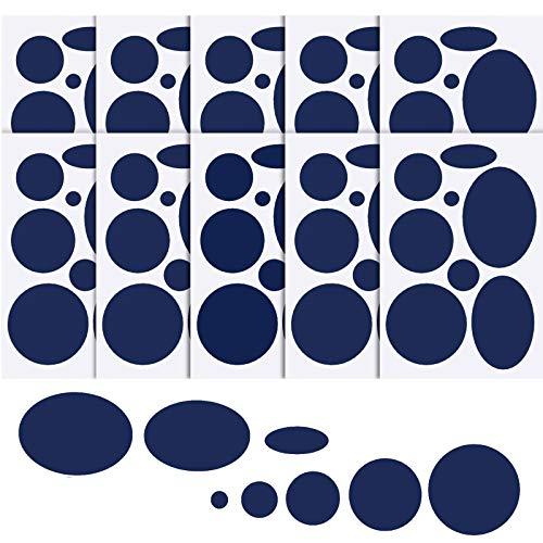 WILLBOND 80 Stück Daunenjacke Flicken Nylon Reparatur Band Selbstklebende Reparatur Flicken Schlafsack Flicken für Jacke Zelt Reparatur, 8 Größen in Runder und Ovaler Form (Dunkelblau)