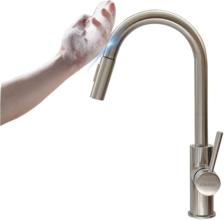 Küchenarmatur, Enjoyfeel 360 ° drehbarer Wasserhahn Küche Mischbatterie Spülarmatur, Spülbecken Armatur aus solide 304 Edelstahlstange (D)