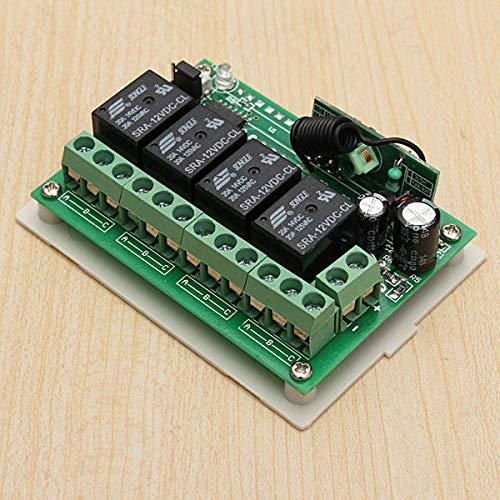 MING-MCZ Duradero 12V 4CH Canal 315Mhz Remoto inalámbrico Interruptor de Control con 2 transimitter 3 Piezas Fácil de Montar