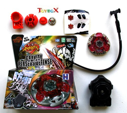 Gravity Perseus Defense / Gravity Destroyer Defense - Kampfkreisel Set - WBBA - Attack - Speed Launcher-Starter - Hybrid Wheel für Beyblade Metall Fusion Metal Masters Arena