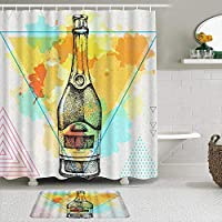 WOTAKA シャワーカーテン バスマット 2点セット シャンパンボトル手描き芸術的なポリゴン水彩三角形のドット 自家 寮用 ホテル 間仕切り 浴室 バスルーム 風呂カーテン 足ふきマット 遮光 防水 おしゃれ 12個リング付き