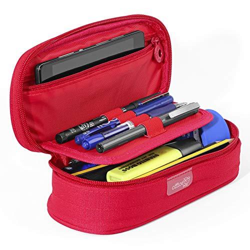PracticOffice - Étui Ovale Multifonctionnel Megapak pour Fournitures Scolaires, Trousse de Maquillage ou Voyage. Dimension 22 cm. Couleur Rouge