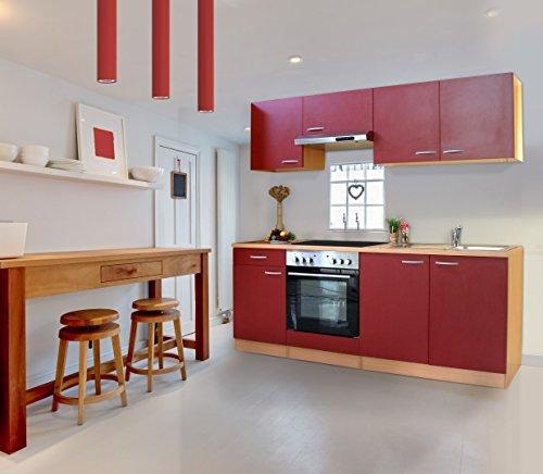 respekta Küche Küchenzeile Einbauküche 210 cm Buche Nachbildung Rot CERAN KB210BREC