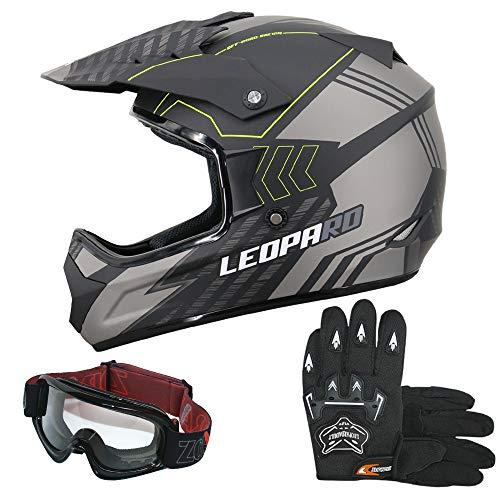 Leopard LEO-X307 Motocrosshelme Schwarz Matt/Silber L (59-60cm) + Erwachsene Motocrosshandschuhe L(10cm) & Zorax Brille Motorradhelm Damen und Herren ECE Genehmigt