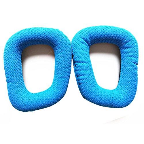 Almofadas de substituição para fones de ouvido de espuma Hemobllo para Logitech G35 G930 G430 (azul)