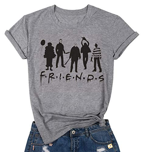 Halloween Friends Shirt Women Funny Halloween Party Shirt Horror Movies Novelty Graphic Short Sleeve Tee Blouse (Gray, X-Large)