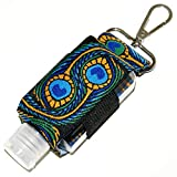 Hand Sanitizer Holder With Refillable Container - Embroidered Peacock Pattern - 2 Ounce Travel Size - Swivel Clip For Backpack, Purse or Keychain