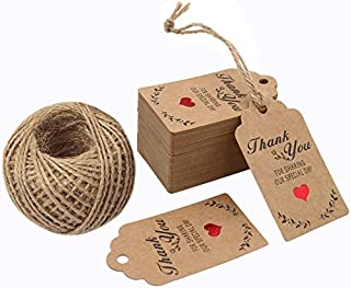 G2PLUS Original Design 100PCS Wedding Favor Gift Tags, 7cm X 4cm Paper Tags Craft Hang Tags with 100 Feet Twine for DIY & Gift Wrapping- Thank You for Sharing Our Special Day