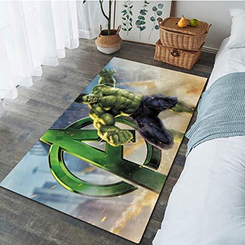 LSXA Teppich Persönlichkeit Mode Hulk Teppiche Jungen Zimmer Avengers Matte Wohnzimmer Schlafzimmer Couchtisch Tuch rutschfeste Verschleißfeste Dekoration