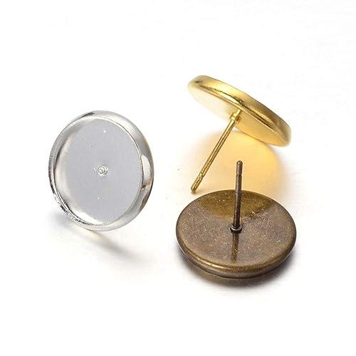 Kissitty 3 Colors Brass Post Stud Earrings Set Blank Flat Round Bezel Tray Cabochon  Setting Fit 49d9ea8df46d