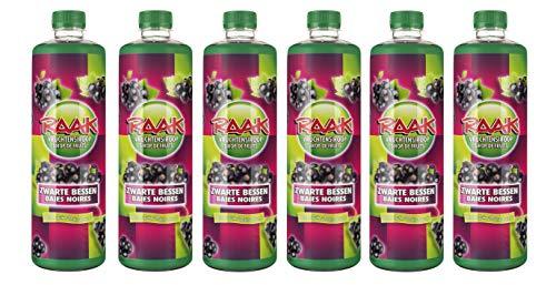 6 x Raak vruchtensiroop zwarte bessen - Getränke-Sirup schwarze Johannisbeere (6 x 0,75L)