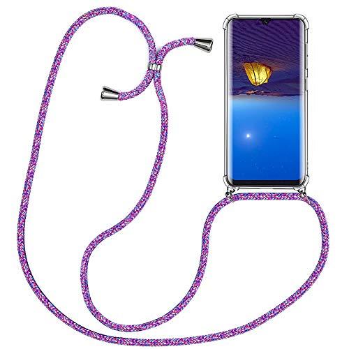XCYYOO mobiele telefoon ketting Phone Case met band voor Huawei P30 Pro - Cell Phone Case met koord om te hangen Handyanhänger Halsband Lanyard Case/Handyband Halsband Necklace in Purple