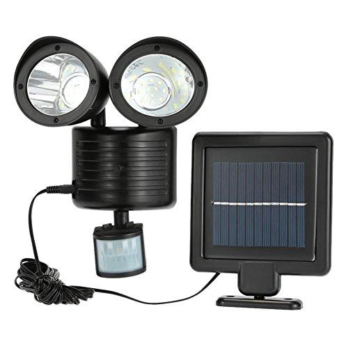 HomJo LED Solaire à Double tête PIR capteur de Mouvement extérieur imperméable à l'eau sécurité Solaire projecteur Applique Murale pour Jardin Jardin de pelouse