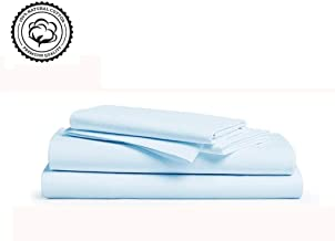 Linenwalas 800 Thread-Count 100% Pure Cotton Bed Sheets On Amazon 4Pc Queen Size Sky Color Sheet Set-Long Staple Combed Cotton Yarns,Best Luxury Sateen Weave,Fits Mattress Upto 16