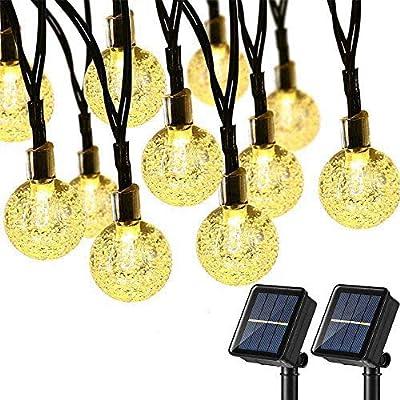 Lomotech 2 Pack Globe Solar String Lights, 20ft 30 LED Outdoor Bulb String Lights,Waterproof 8 Modes Solar Patio Lights for Patio, Garden, Gazebo, Yard, Outdoors (Warm White)