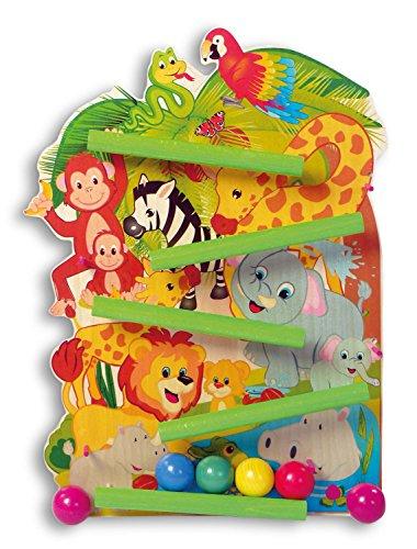 Hess Holzspielzeug 31128 - Kugelbahn aus Holz, Motiv Dschungeltiere, mit 4 Kugeln, handgefertigt, für Kinder ab 12 Monaten, ca. 50 cm, für fröhlichen Spielspaß im Kinderzimmer und Kindergarten