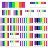 SIQUK 3160 Piezas marcadores de página en color Fichas índice pegajosas Pestañas de notas de neón Listas de lunares y rayas Etiquetas de la bandera Notas adhesivas fluorescentes, 22 juegos