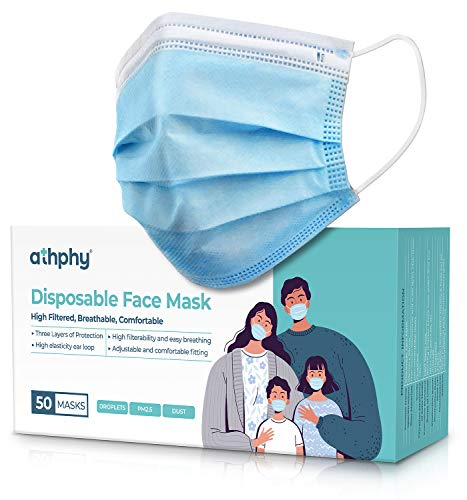Face Mask Disposable with Earloops 3-Layer Design Dust Particle - 50 Pack …