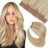 [10% de Descuento] Hetto Liso halo Hair Extension Pelo Brasileño Humano Halo on Extensiones de Mujer Pelo Natural con Ajustable Hilo Invisible 20Pulgada #14 Mezclado con #613 Blonde 100g