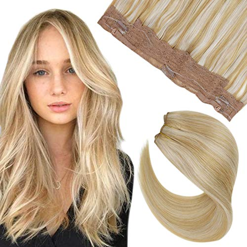 Hetto Echthaar Easy Fit Haloo Extensions Remi Natürlich Haar 14 Zoll Haloo Gerades Brasilianisches Haar mit Geheimfaden 14 Honigblondine Highlighted with 613 Gebleichtes Blond 50g