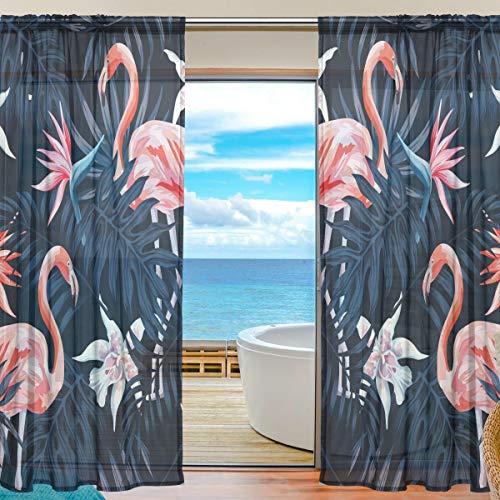 BONIPE Tropische Flamingo-Vorhang aus Voile, Tüll, Fenstervorhang für Küche, Schlafzimmer, Wohnzimmer, Wohnzimmer, Dekoration, 139,7 x 198 cm, 2-teiliges Set, Polyester, Multi, 55x78x2(in)
