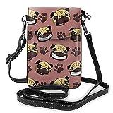 Lawenp Sac à main en cuir pour téléphone, petit sac à bandoulière pour chiot carlin Mini sac à bandoulière pour téléphone portable pour femmes