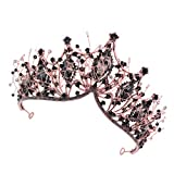 Lurrose Corona de Reina Barroca Tiara de Corona de Diamantes de Imitación Accesorios para El Cabello de Novia de Cristal Barroco para Mujeres ()