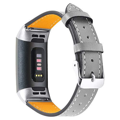Jennyfly Compatible con Fitbit Charge 3/Charge 4, correa de repuesto de piel auténtica para mujer, correa de reloj deportivo con hebilla de metal ajustable de 14 a 20 cm, color gris
