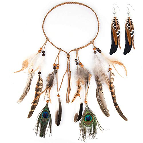 Diadema India Plumas, Czemo Boho Hippie Beads Headwear Headband Indio de la Pluma para Mujeres Niñas