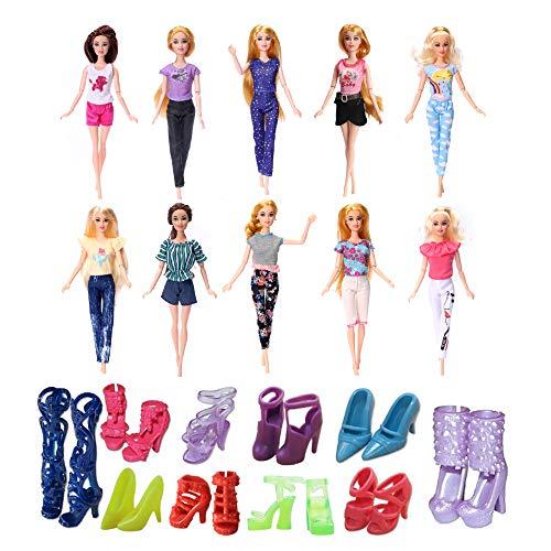 Daity Kleider für Barbie Puppen, 10 Fashion Kleider Hose mit 10 Paar Schuhen für 11,5 Zoll Mädchen Puppen