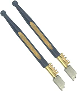BRUFER 72361 Diamond Tipped Glass Cutter with Brass Snapper and Hardwood Handle - Pack of 2