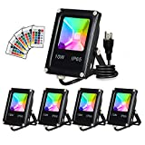 T-SUN Led Flood Light,10W RGB Color Changing Waterproof Security Lights, with US Plug, Super Bright Remote Control Outdoor Spotlight, for Garden, Yard, Warehouse Sidewalk ,Backyard, Garage (5 Pack)