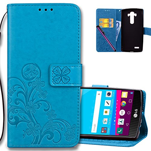 """COTDINFORCA Case for LG G4 Wallet Case Leather Premium PU Embossed Design Magnetic Closure Protective Cover with Card Slots for LG G4 2015 (5.5"""" inch). Luck Clover Blue"""
