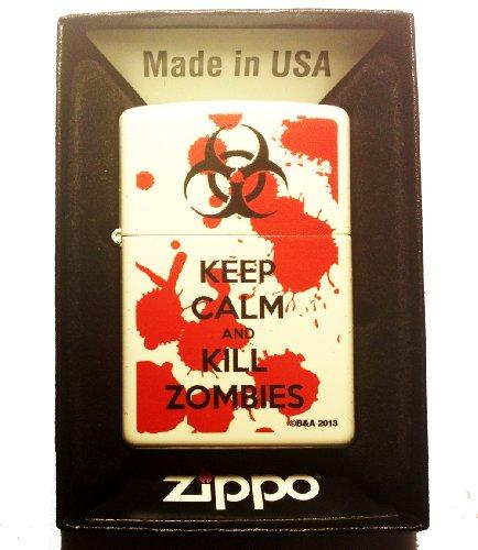 Zippo Custom Lighter - Keep Calm and Kill Zombies Bloody Blood Splatter Biohazard Logo White Matte Finish Rare!