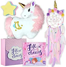 Follow Your Dreams - Unicorn Pillow and Dreamcatcher Gift Set - Includes Book, Plush Pillow, Dream Catcher, and Notepad for Girls Age 4 5 6 7 8 9 Years - Great for Birthday, Christmas, Room Decor