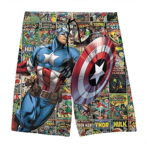 MPY-SEA Marvel Strandshorts Boys Avengers Superhelden-Badehose - Spider-Man Strandshorts, Hulk Strandshorts, Captain America Strandshorts, Iron Man Strandshorts (A2,140)