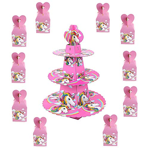 TRIXES 10 PIEZAS Cajas Regalos Unicornio para dulces y chocolate - y Soporte para Pastel 3 niveles...