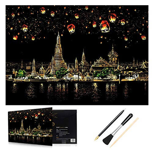 H HOMEWINS Kratzbilder 405 x 285 MM Weltberühmte Sehenswürdigkeiten Wandbild DIY Kunst Zeichnung City Night View Schwarz Beschichtet Bunte Kratzpapier mit Werkzeug Set (Chiang Mai)