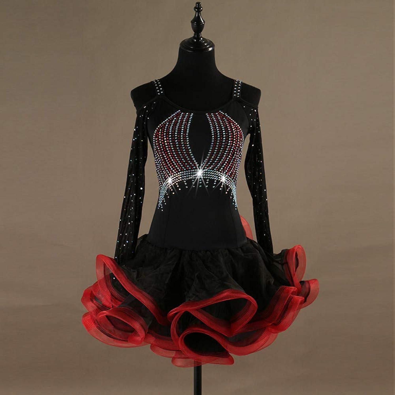 Latin Dance Dresses Women's Performance Spandex Organza Crystals Rhinestones Long Sleeve Dress