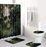 Scary Skull Duschvorhang Set 4-Teilig, Duschvorhang Wasserdicht + Badematte + U-Förmige Konturmatte + Toilettensitzbezug + 12 Haken