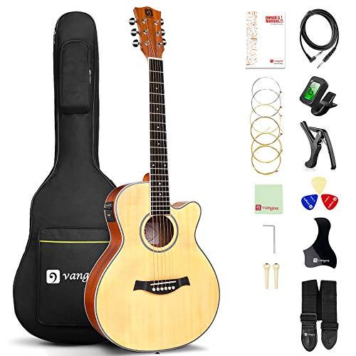 Vangoa 3/4 Elektro Akustische Gitarre Cutaway 36 Zoll E-Akustikgitarre mit 2-Band-Equalizer, Eingebauter Tuner, Anfänger Kits, Natürlich