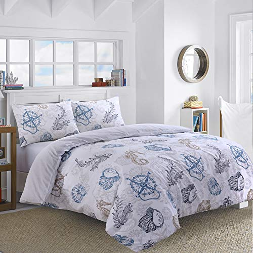 Nimsay Home Seafarer Nautical Seashells Compass 100% Cotton Quilt Duvet Cover Bedding Set (Double)