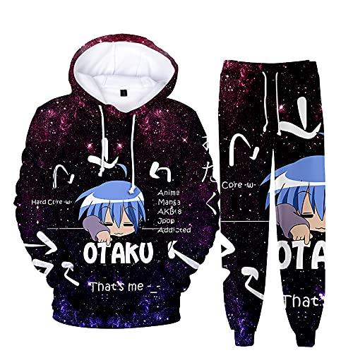 Otaku Lindos Personajes de Anime Lindo suéter japonés de Dos Piezas con Capucha + Leggings elásticos Ajustables Pantalones Largos Unisex Que se Pueden Usar como Ropa Deportiva y Casual