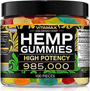Vitamax Hemp Gummies - 985,000 - Peace & Relaxation - Natural Tasty Fruit Flavors - Made in USA - 100ct