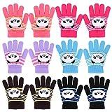 QKURT 6 paia di Guanti per bambini, guanti elastici caldi invernali Guanti elasticizzati unisex per ragazzi e ragazze di 2~5 anni