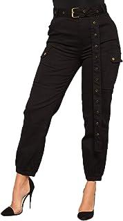 fff25c0d4729 Saoye Fashion Mujer Pantalon Cargo Elegantes Moda Cintura Alta con  Bolsillos Pantalones De Tiempo Libre Vintage