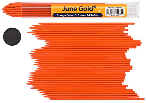 June Gold 36 Orange Colored 2.0 mm Lead Refills, Bold Thickness for Heavy Use, Break Resistant with a Convenient Dispenser