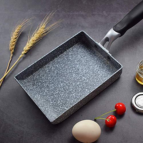 HilMe Stile Giapponese Padella, Maifanite Pietra Omelette Pan, Tamagoyaki Rettangolare Padella, Antiaderente Rivestimento Alluminio Lega - Come da Foto, 13 x 18 x 3.3 CM
