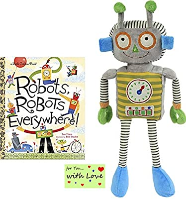 Maison Chic Robbie The Robot Plush Toy for Boys, Girls Who Like Sciece and Bots