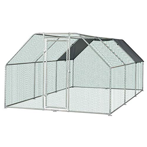 PawHut Galvanized Metal Chicken Coop Cage with Cover, Walk-in Pen Run, 9' W x 18.5' D x 6.5' H